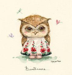 cutie-patootie owl in her little flowered apron.