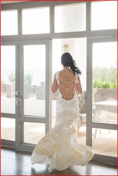 Silk and lace backless wedding dress made by dellton.co.uk