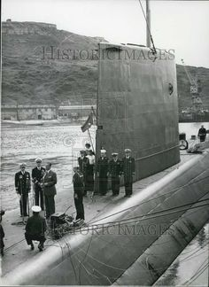 1958 Press Photo US nuclear sub Nautilus at Portland Dorset