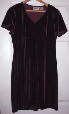 Beautiful Burgundy Velvet Dress Size Large Kathie Lee by fleurzart, $28.00