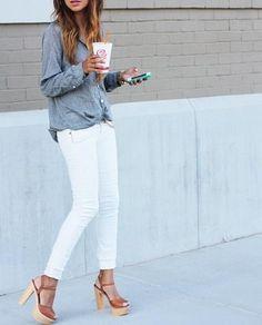 calca branca + jeans