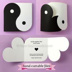 Yin Yang Valentine or Wedding Card Hand cuttable by PaperZenShop
