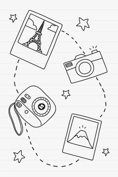 Hand drawn travel element vector set | free image by rawpixel.com / marinemynt Mini Drawings, Cute Easy Drawings, Cool Art Drawings, Pencil Art Drawings, Easy Doodles Drawings, Doodle Art For Beginners, Easy Doodle Art, Doodle Art Drawing, Daisy Drawing