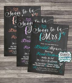 Printable Soon to be Mrs bridal shower invitation! Available in any color. Chalkboard, swirls and heart accents, by DazzleDesignGraphics