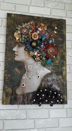 Picture of woman filled in with jewelry buttons etc Mixed Media Canvas, Mixed Media Art, Collage Art, Collages, Vintage Jewelry Crafts, Coin Art, Found Object Art, Doll Painting, Assemblage Art