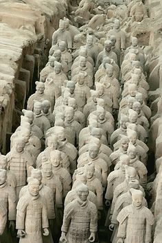 """The Terracotta Army or the """"Terra Cotta Warriors and Horses"""", is a collection of terracotta sculptures depicting the armies of Qin Shi Huang, the first Emperor of China. pinterest.com/lindasuebear"""