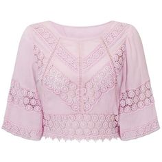 Miss Selfridge Lilac Cutwork Angel Sleeve Top (410 CNY) ❤ liked on Polyvore featuring tops, lilac, rayon tops, lilac top, viscose tops, sleeve top and miss selfridge