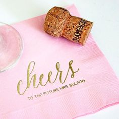 These sweet napkins from @theyellownote are just too cute! Such an easy way to personalize a bridal shower or bachelorette party pregame!  #cheers #bridalshower #bachelorette