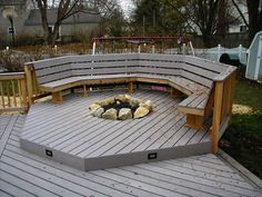 recessed gas fireplaces for deck | Recessed Firepit with Deck lighting and bench