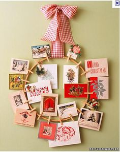 oooo....really like this idea-- Christmas Card Wreath....with a quilt hoop, clothes pins, and wide plaid ribbon.  EZ craft project!