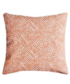 Cotton Maze Print Throw Pillow, Persimmon – High Street Market