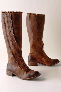 Brown Side Lace Leather Ruffle Boots | Fashionista Tribe