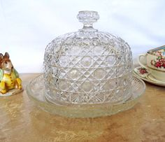 Vintage French glass cheese dome and tray by MaisonMaudie on Etsy, $40.00