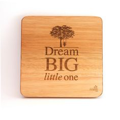 """""""Dream big little one"""". Inspiring words depicted by a lovely, calming design for a nursery or a kid's room. Wooden Wall Art, Wooden Walls, Big Little, Wall Art Designs, Kid Spaces, Nursery Art, Bamboo Cutting Board, Dream Big, Solid Wood"""
