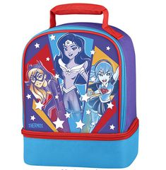 7ef2bc2414e1 Super Hero Girls Batgirl Wonder Woman Supergirl Lunch Box Thermos  Thermos   LunchBag Cool Lunch
