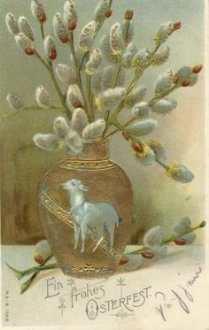 1905- Spring, Pussywillows, Lamb