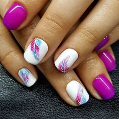 Cool Summer Nail Art Ideas for 2018 Trends – Best Trend Fashion - Nail Design Ideas! - Cool Summer Nail Art Ideas for 2018 Trends – Best Trend Fashion # - Beach Nail Art, Beach Nails, Diy Nails, Cute Nails, Pretty Nails, Manicure Ideas, Feather Nail Art, Feather Nail Designs, Feather Design