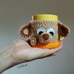 Crochet wrap mug.. Dog braun