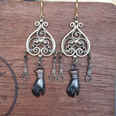 Chandelier Earrings with Ladies Hands and Art Deco Dangles
