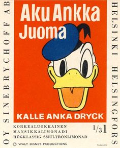 Aku Ankka -limonadin etiketti 60/70-luvulta (?)