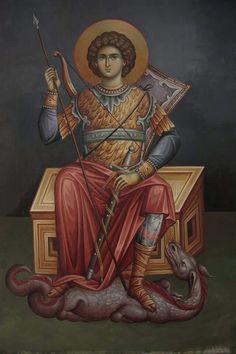 Sf dumitru Byzantine Icons, Byzantine Art, Religious Icons, Religious Art, Saint George And The Dragon, Art Icon, Orthodox Icons, Angel Art, St Michael