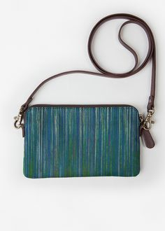 VIDA Leather Statement Clutch - Blue Metal Art by VIDA