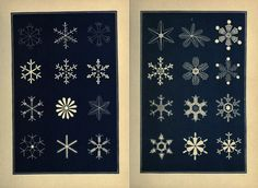 These plates, cataloging the geometrical forms of snowflakes, are from an 1863 book called Snow-flakes: A Chapter from the Book of Nature, published by the American Tract Society in Boston.