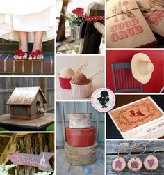 i want a red wedding and i really love this red and brown rustic theme