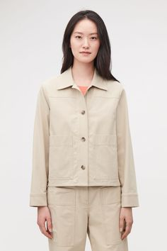 BUTTON-UP CANVAS JACKET - Sand - Blazers - COS Wardrobe Sale, Small Wardrobe, Cos Jackets, Canvas Jacket, White Shirts, Cotton Canvas, New Dress, Button Up, Knitwear