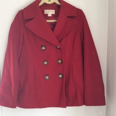 Micheal by Michael Kors Cranberry Red Peacoat In perfect condition and worn twice. 100% wool exterior and polyester lining. Please feel free to comment with questions! MICHAEL Michael Kors Jackets & Coats