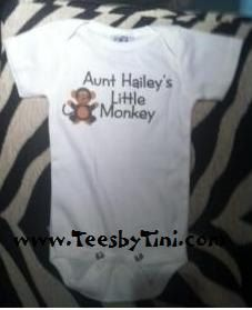 Aunt or Uncle's little monkey personalized one piece snapsuit bodysuit you choose size and color boy or girl custom on Etsy, $9.39