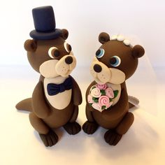 Otter Wedding Cake Topper  Choose Your Colors by topofthecake, $60.00