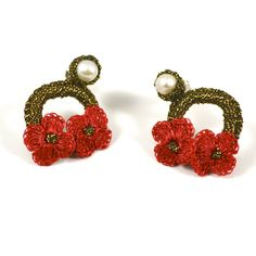 JJ Caprices - Hand Crocheted Flower Earrings - Red