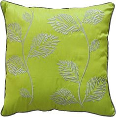 "Decorative Silver Leaves Embroidery with Piping Floral Throw Pillow COVER 18"" Lime Green Blue Dolphin http://www.amazon.com/dp/B00F8W9R4U/ref=cm_sw_r_pi_dp_FDpNwb05KCW0D"