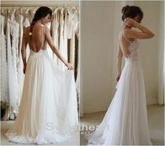 Sweetheart Girl   Custom Made A line Chiffon Backless Lace Prom Dresses, Wedding Dresses
