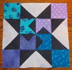 Block 6: Pin up Star by Jo & Kelli Kramer.   Free tutorial here:  http://quiltinggallery.com/2013/05/04/jo-kelli-pin-up-star/