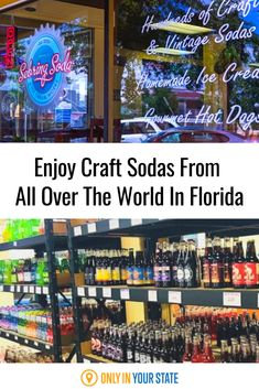 Sebring Soda & Ice Cream Works is a shop unlike any other that is filled with culture from all over the globe. In this exotic one-of-a-kind store, there are over 300 different soda selections. Experience delicious food and drink from every corner of the globe and homemade ice cream, craft soda, and old-fashioned snacks! Gourmet Hot Dogs, Best Bucket List, Best Soda, Old Fashioned Candy, Hidden Beach, Swimming Holes, Sunshine State, Homemade Ice Cream, Natural Wonders