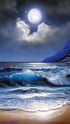 There is a purplish color to the moon. The clouds seem to cradle the moon. The waves are a beautiful, rich color of white, dark blue and light blue. Watch how the waves move. I love it. There is also a shine to the moon.