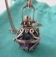 "VINTAGE STERLING SILVER SECRET ORB CRYSTAL BALL LOCKET PENDANT NECKLACE 28""CHAIN"