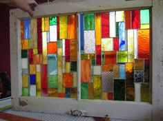 Vintage REPURPOSED 2 pane window with CUSTOM MADE sold  stained glass inserts customer chose color combo on Etsy, $600.00