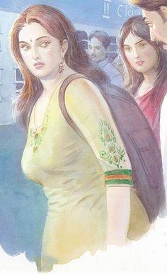 Ravivarma Paintings, Indian Art Paintings, Watercolor Landscape Paintings, Sexy Painting, Woman Painting, Model Girl Photo, Indian Women Painting, Dark Comics, Pulp Fiction Art