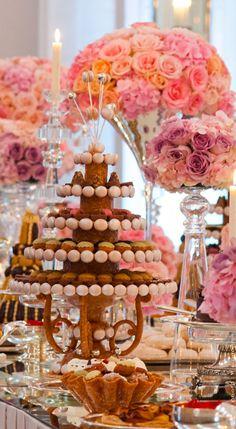 Dessert table nougat, petits fours et chocolats centerpiece~ pièce montée~ by French pastry chef Lenôtre - Wedding Réception, at Le Pré Catelan, Paris 16e