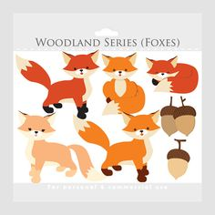 Fox clipart - whimsical foxes clip art, cute, woodland, critter, creatures, forest animals, acorns, orange, red, for commercial use