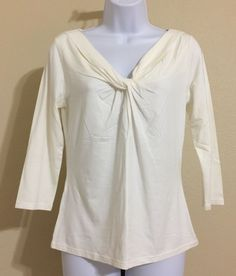 Ann Taylor Women's Ivory 3/4 Sleeve Knotted V Neck Blouse Size M NWT #AnnTaylor #Blouse #Casual