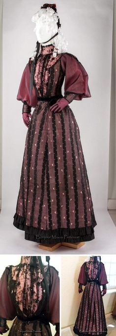Afternoon dress, British, ca. 1890-95. Pink silk covered with black lace on tulle. Plastron embroidered with sequins and beads. kievm/eBay