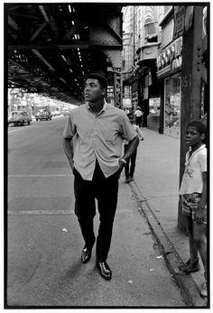 Muhammad Ali.Walking down 63rd St, (Woodlawn) Chicago,Il.