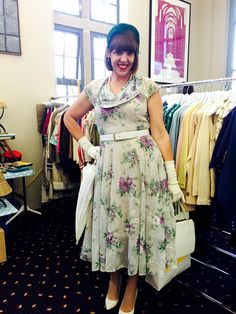 Natalie wears original 50's floral print day dress by The Crown St Project
