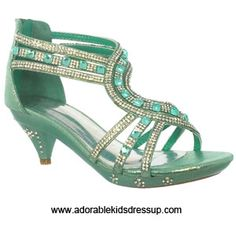 Mint high heels for kids with matching beads and lots of sparkling rhinestones.