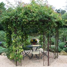 Hops pergola I love to have an iron gazebo that I can retreat to. Maybe have some potted peonies and Austin roses . Shabby Chic Terrasse, Shabby Chic Patio, Patio Design, Garden Design, Exterior Design, Modern Gazebo, Evergreen Vines, Grape Arbor, Gravel Landscaping