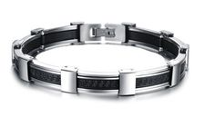 Men Jewelry Luxury Mens Stainless Steel Silicone Bracelets #Unbranded #Trendy